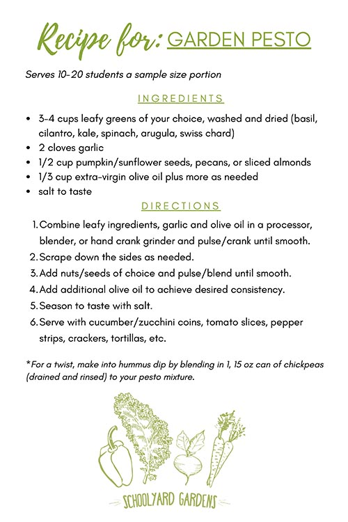 SYG Garden Pesto Recipe Card