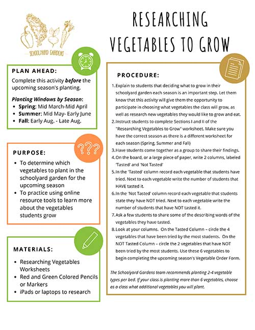 Researching Vegetables to Grow
