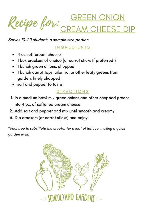 SYG Green Onion Cream Cheese Dip Recipe Card
