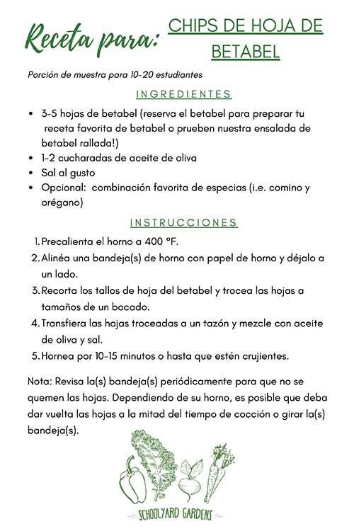 SPANISH VERSION_Beet Green Chips Recipe Card