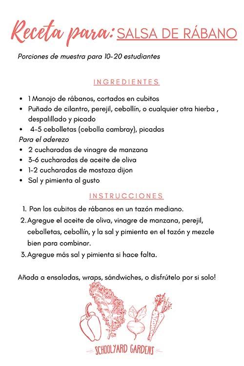 SPANISH VERSION_Radish Relish Recipe Card
