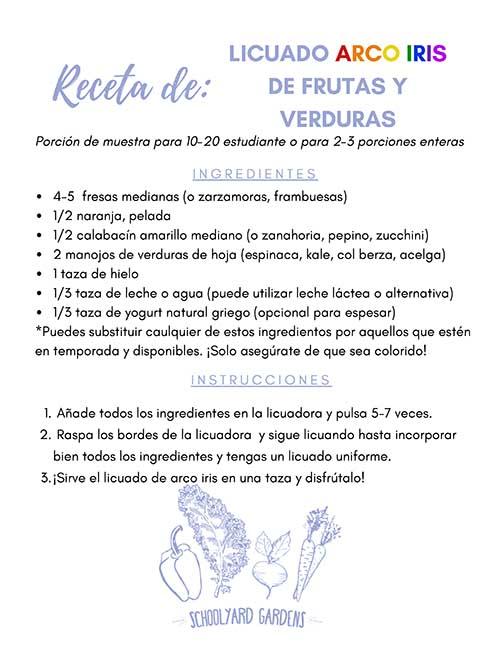 SPANISH VERSION_Vegetable & Fruit Rainbow Smoothie Recipe Card