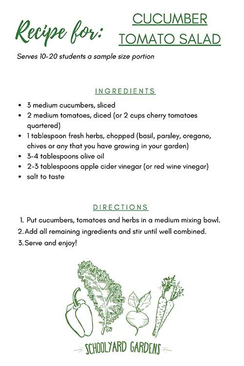 Cucumber and Tomato Recipe Card
