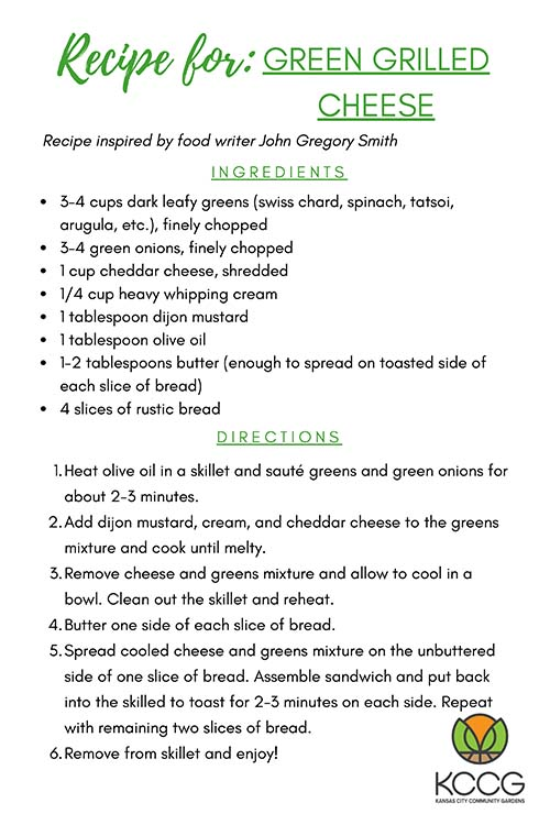 Green Grilled Cheese Recipe Card