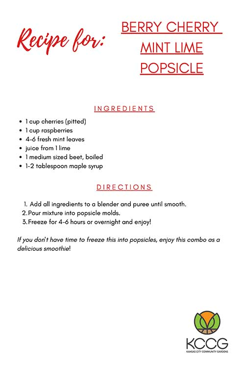 Berry Cherry Mint Lime Popsicle Recipe Card