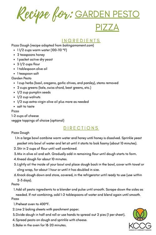 Garden Pesto Pizza Recipe Card