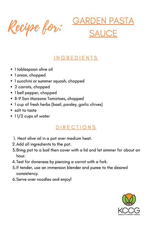 Garden Pasta Sauce Recipe Card