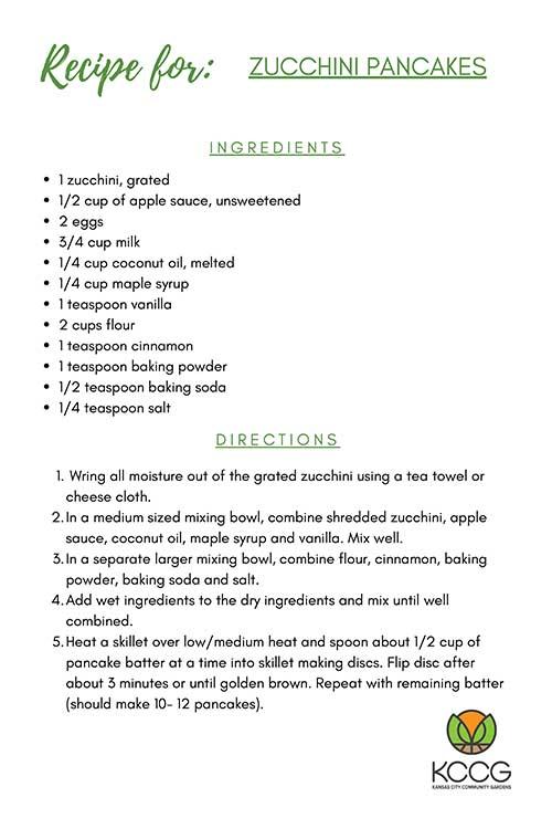 Zucchini Pancakes Recipe Card